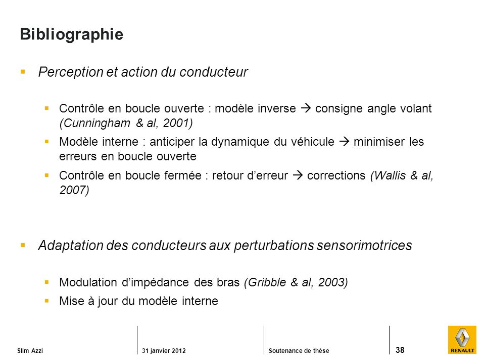 Bibliographie Perception et action du conducteur