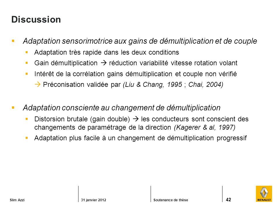 Discussion Adaptation sensorimotrice aux gains de démultiplication et de couple. Adaptation très rapide dans les deux conditions.