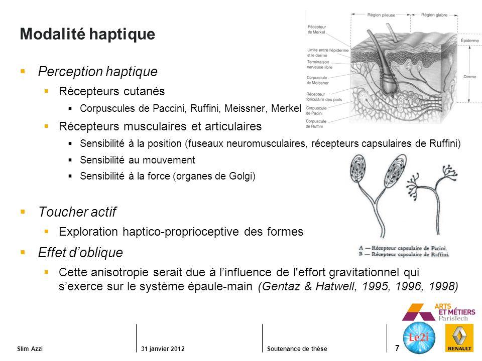 Modalité haptique Perception haptique Toucher actif Effet d'oblique