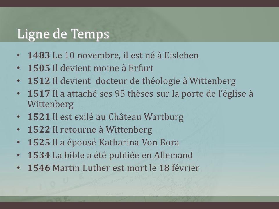 Ligne de Temps 1483 Le 10 novembre, il est né à Eisleben
