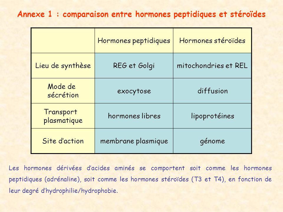 Annexe 1 : comparaison entre hormones peptidiques et stéroïdes