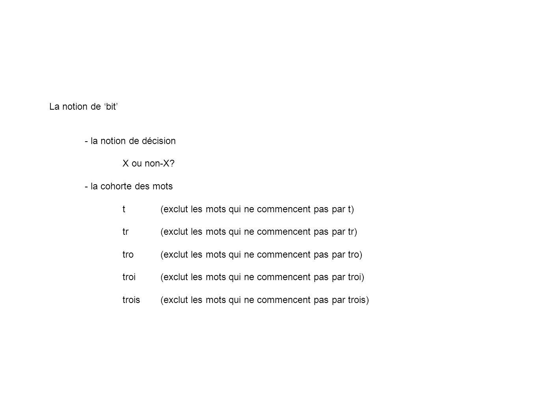 La notion de 'bit' - la notion de décision. X ou non-X - la cohorte des mots. t (exclut les mots qui ne commencent pas par t)