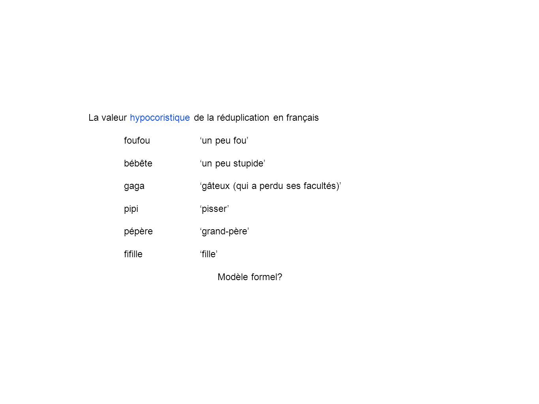 La valeur hypocoristique de la réduplication en français