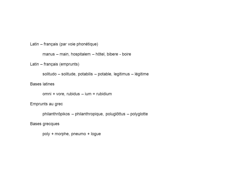 Latin – français (par voie phonétique)