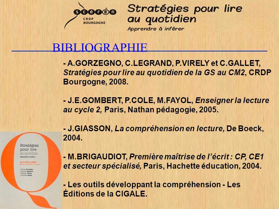 BIBLIOGRAPHIE - A.GORZEGNO, C.LEGRAND, P.VIRELY et C.GALLET, Stratégies pour lire au quotidien de la GS au CM2, CRDP Bourgogne, 2008.