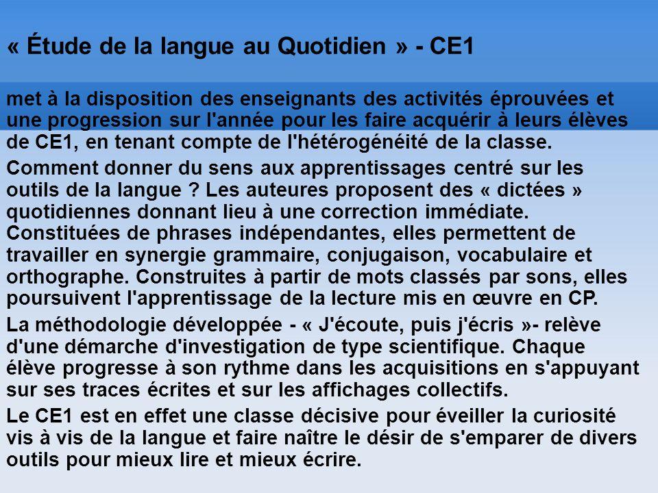 « Étude de la langue au Quotidien » - CE1