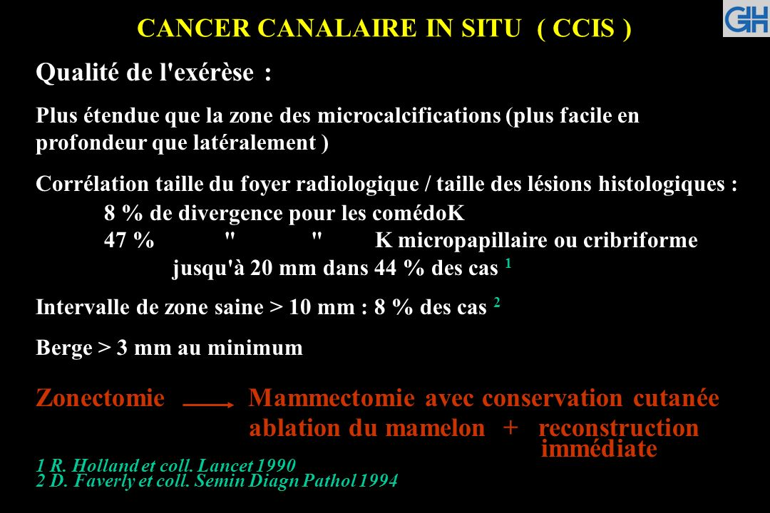 CANCER CANALAIRE IN SITU ( CCIS )