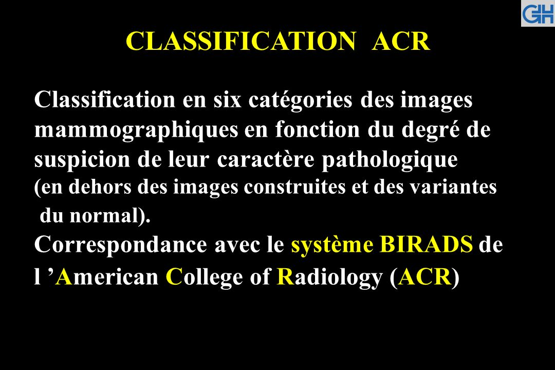 CLASSIFICATION ACR
