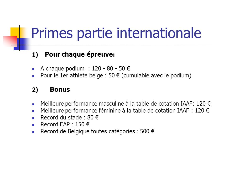 Primes partie internationale