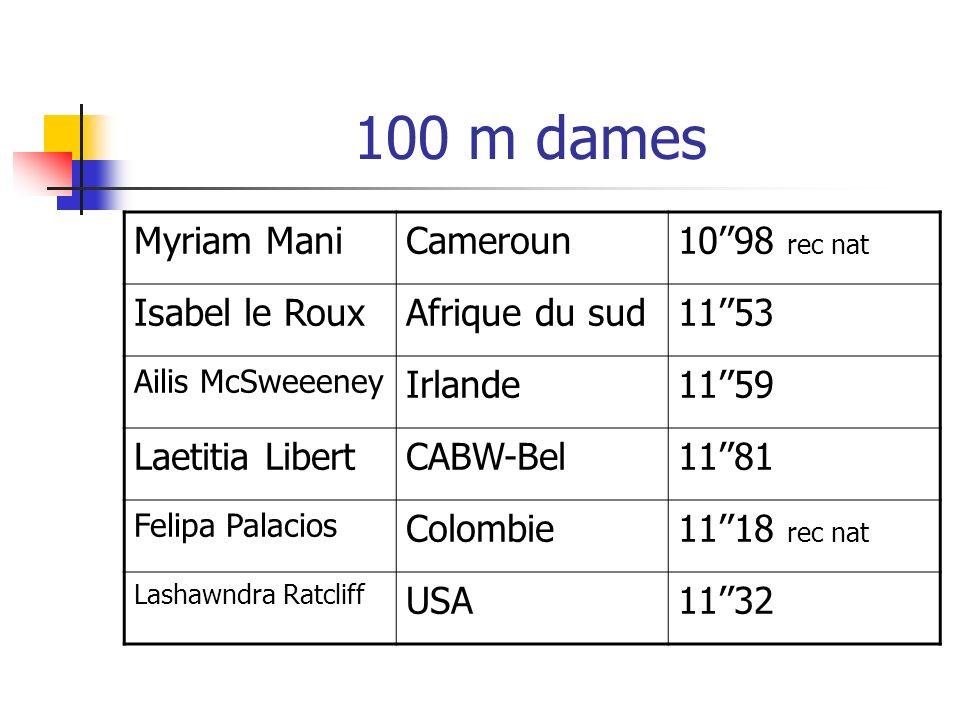 100 m dames Myriam Mani Cameroun 10''98 rec nat Isabel le Roux