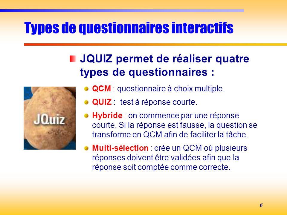 Types de questionnaires interactifs
