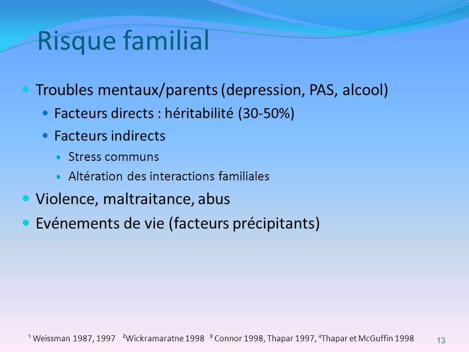 Risque familial Troubles mentaux/parents (depression, PAS, alcool)