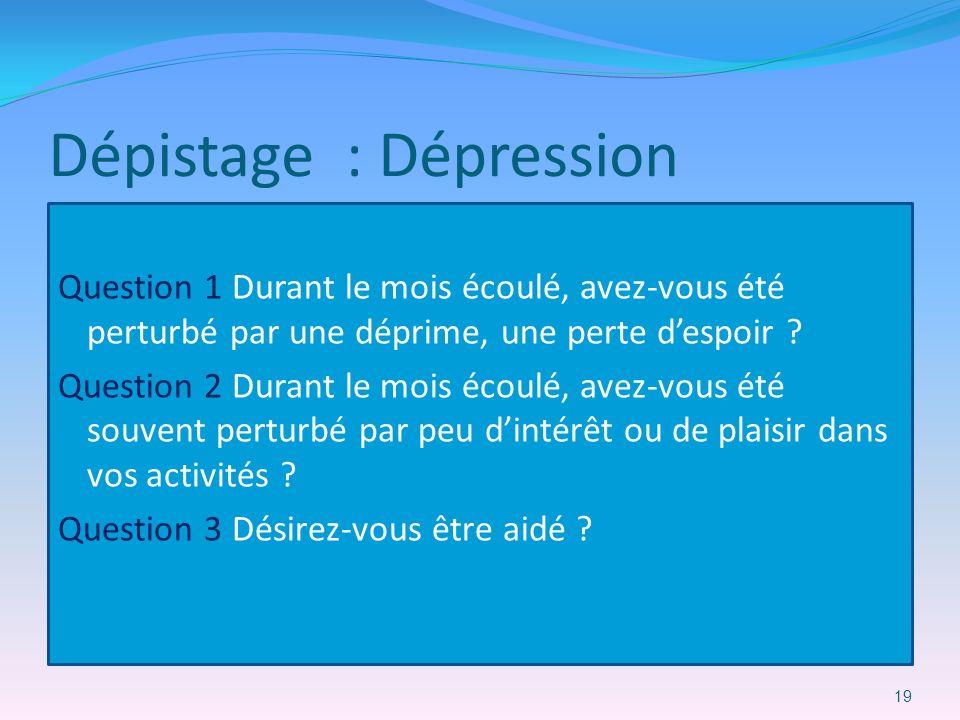 Dépistage : Dépression