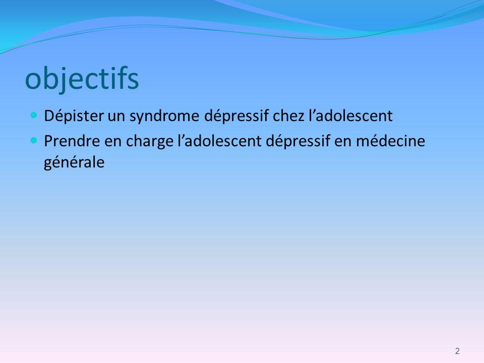 objectifs Dépister un syndrome dépressif chez l'adolescent