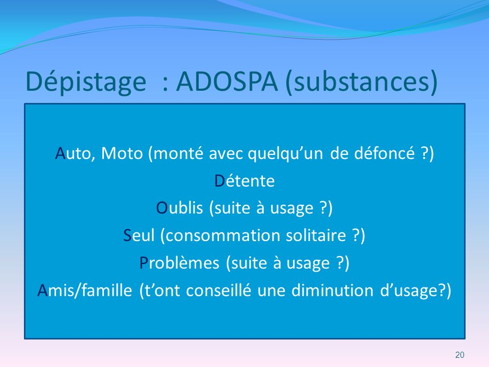 Dépistage : ADOSPA (substances)