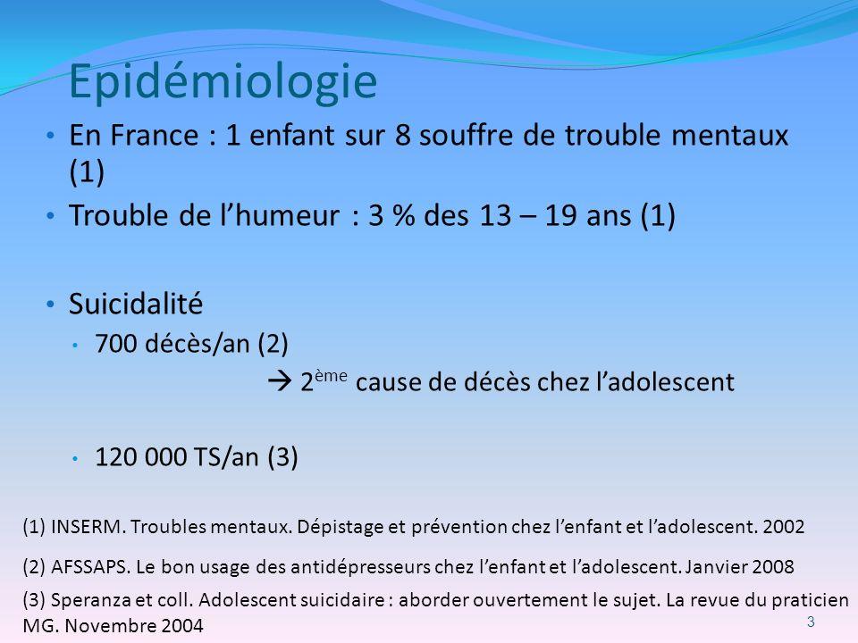Epidémiologie En France : 1 enfant sur 8 souffre de trouble mentaux (1) Trouble de l'humeur : 3 % des 13 – 19 ans (1)