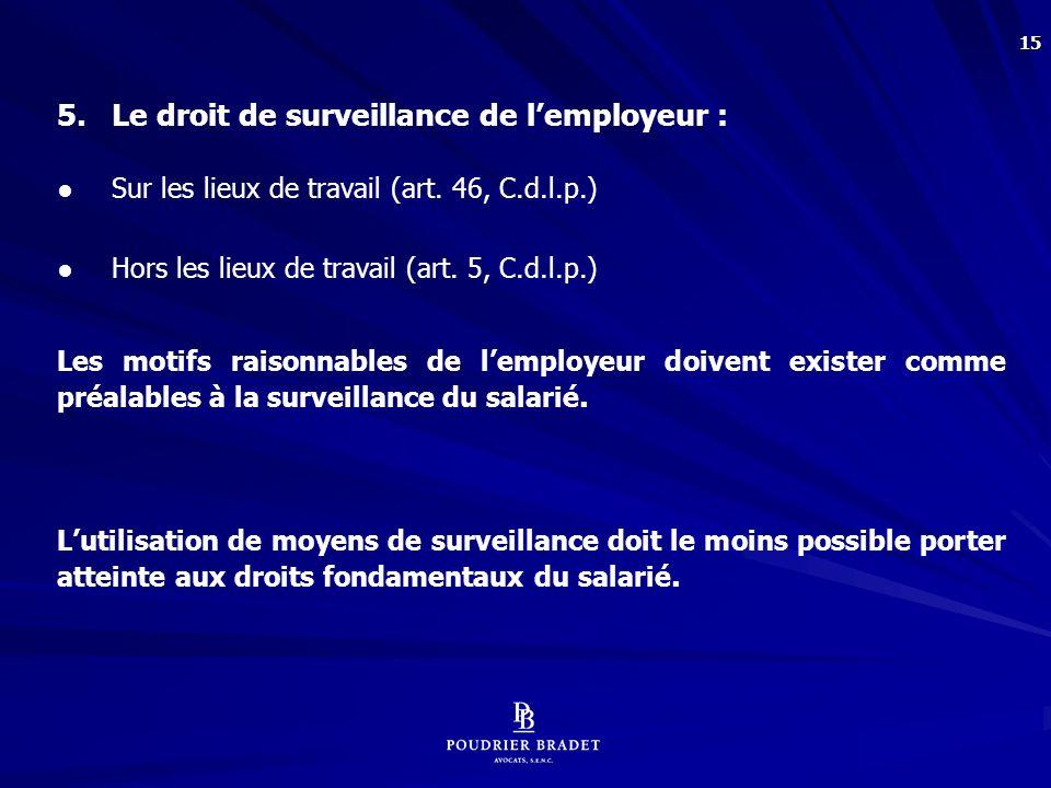 5.1 Surveillance par caméra sur les lieux de travail :
