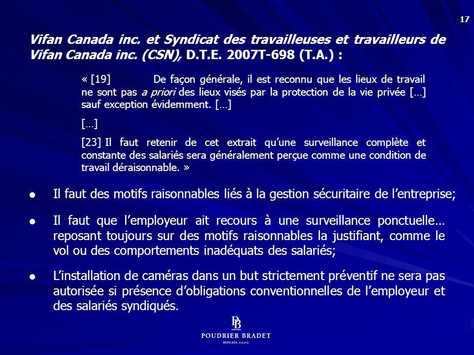 Linda CRAIG, Au travail et sous surveillance, Syndicat canadien de la fonction publique, 2006, p. 66 et 67 :