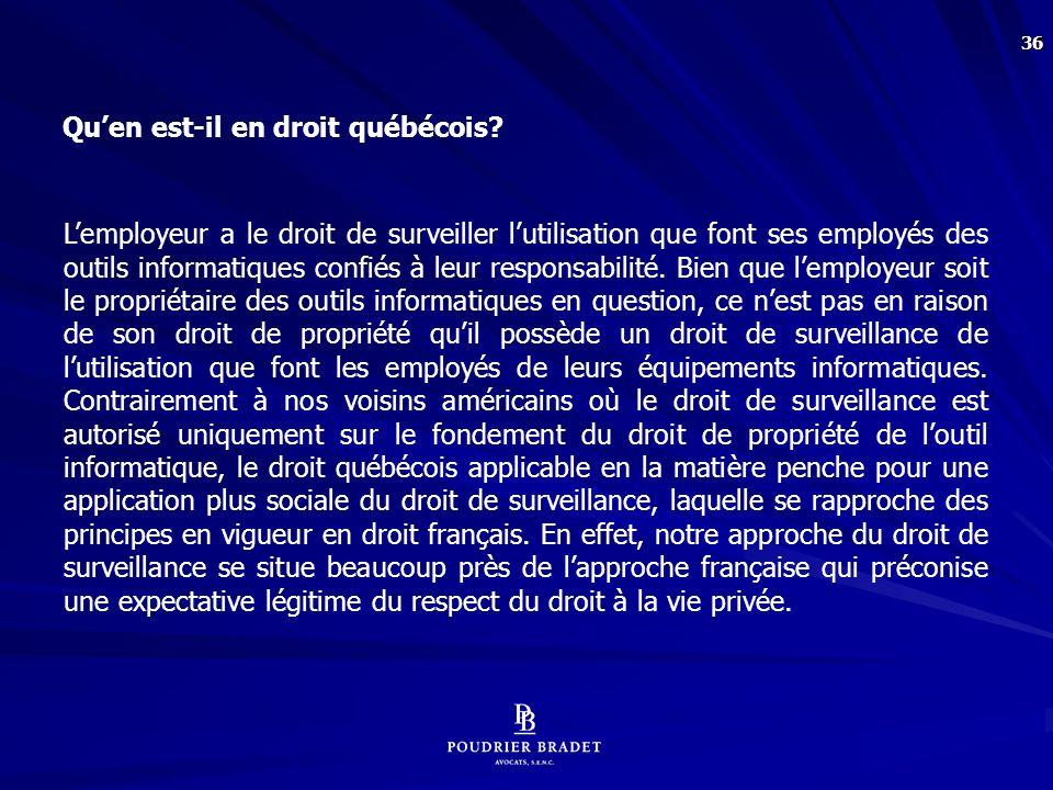 Principes qui gouvernent la surveillance des équipements informatiques mis à la disposition des salariés par l'employeur :