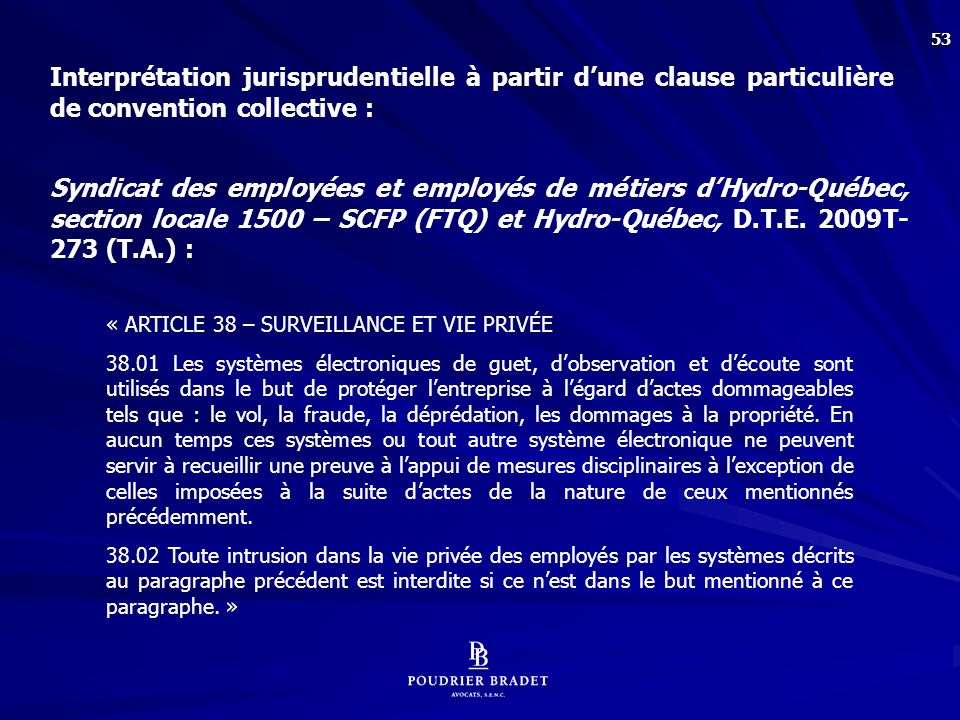 Application de la clause vs le vol de temps :