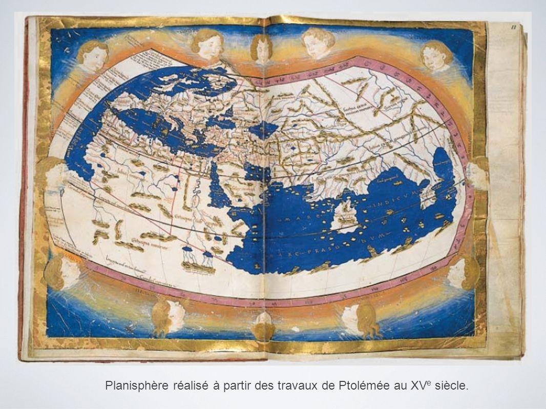 Planisphère réalisé à partir des travaux de Ptolémée au XVe siècle.