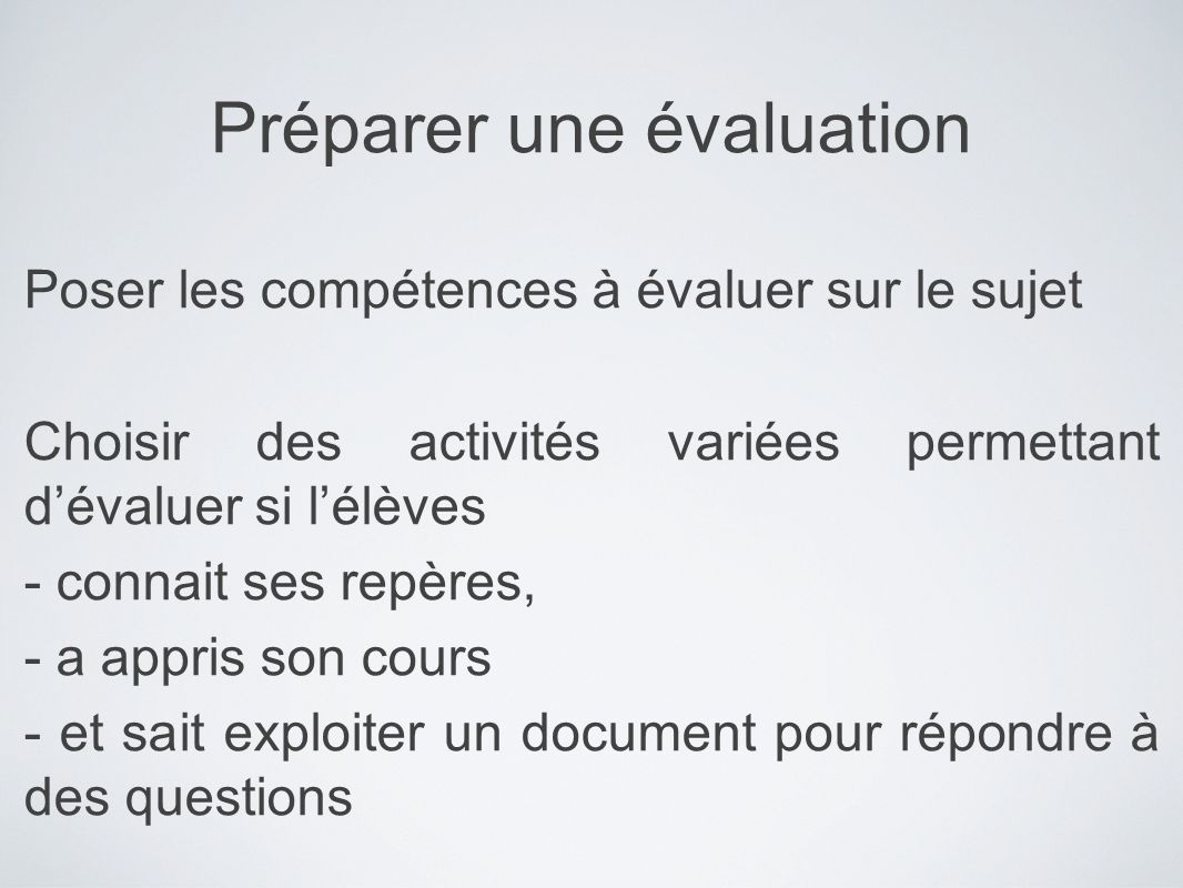 Préparer une évaluation
