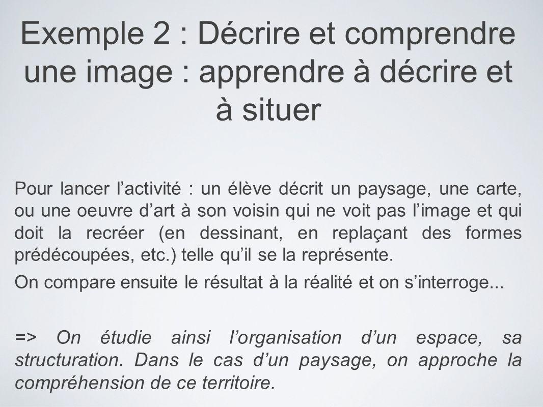 Exemple 2 : Décrire et comprendre une image : apprendre à décrire et à situer
