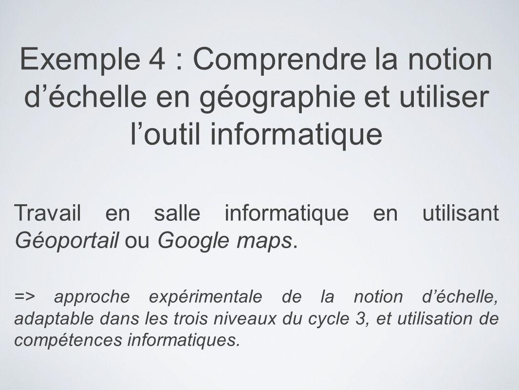 Exemple 4 : Comprendre la notion d'échelle en géographie et utiliser l'outil informatique