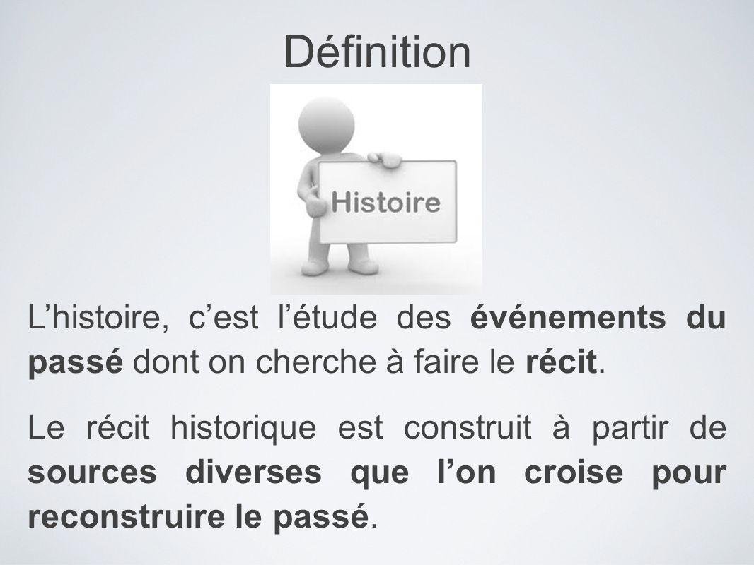 Définition L'histoire, c'est l'étude des événements du passé dont on cherche à faire le récit.