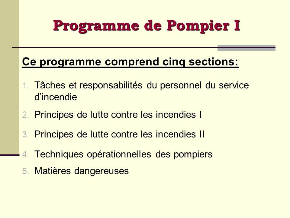 Programme de Pompier I Ce programme comprend cinq sections: