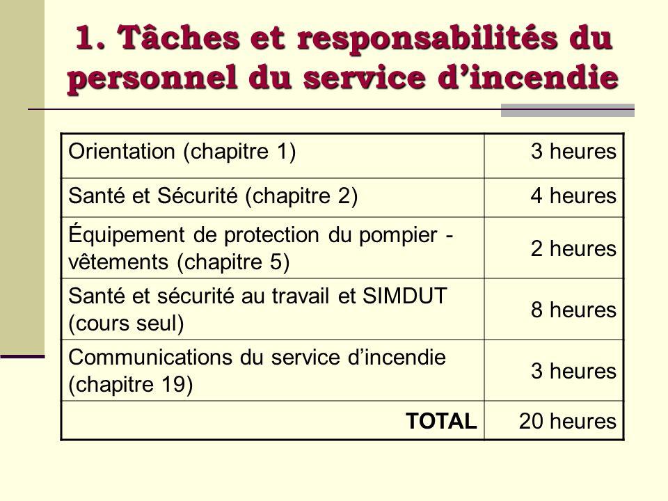 1. Tâches et responsabilités du personnel du service d'incendie