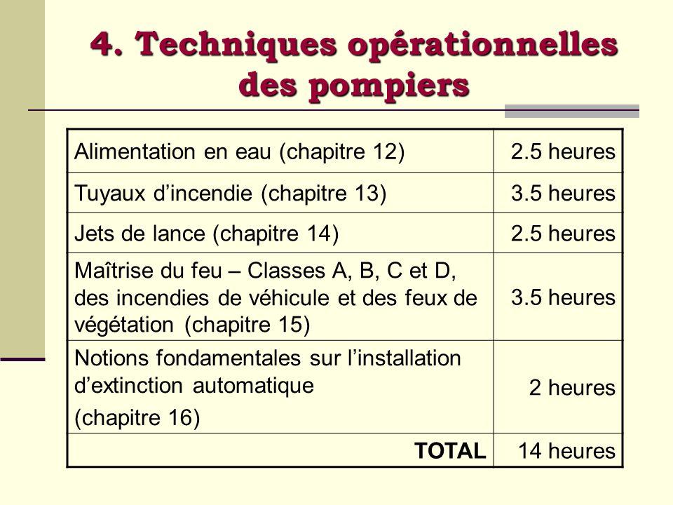 4. Techniques opérationnelles des pompiers
