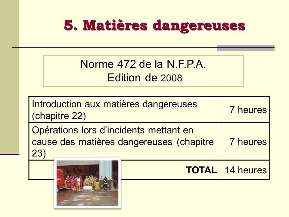 5. Matières dangereuses Norme 472 de la N.F.P.A. Edition de 2008