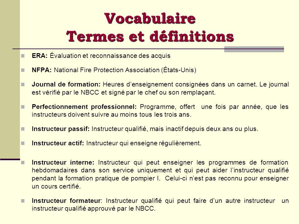 Vocabulaire Termes et définitions