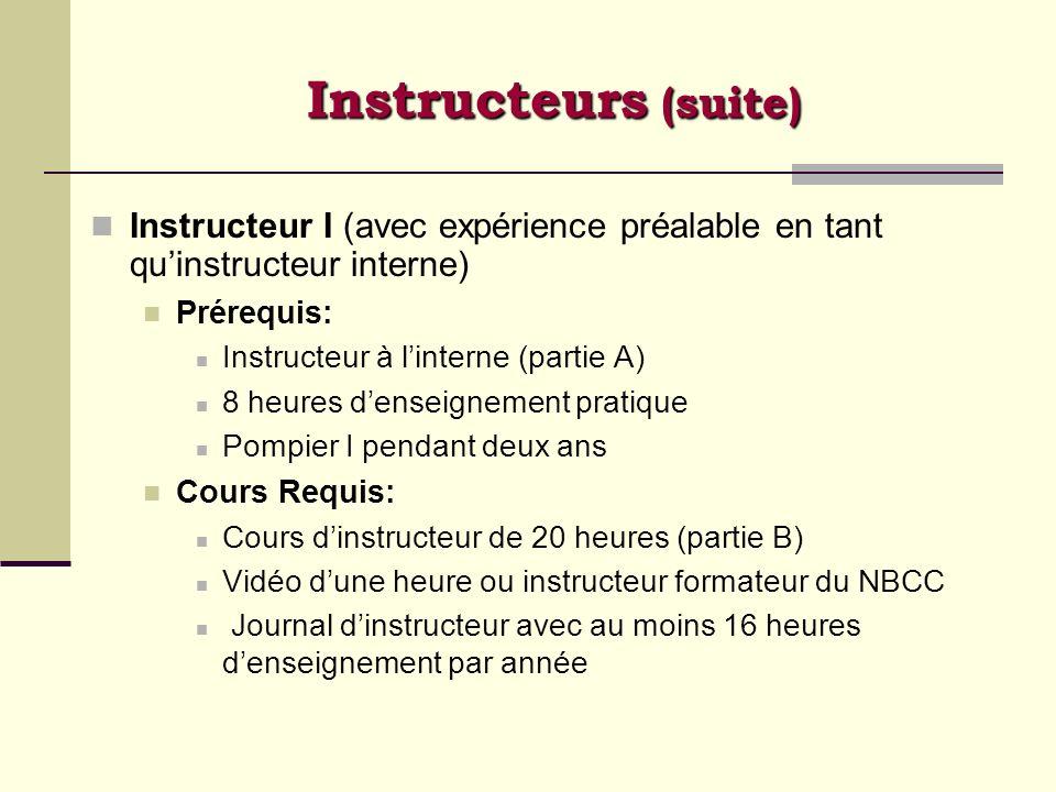Instructeurs (suite) Instructeur I (avec expérience préalable en tant qu'instructeur interne) Prérequis: