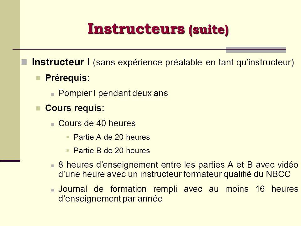 Instructeurs (suite) Instructeur I (sans expérience préalable en tant qu'instructeur) Prérequis: Pompier I pendant deux ans.