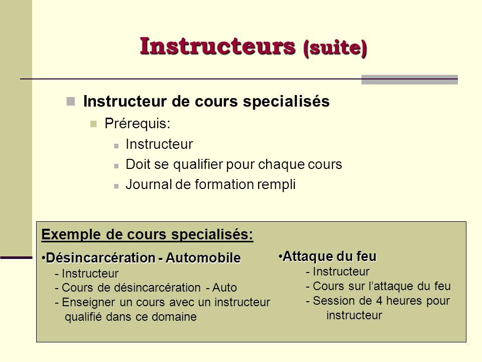 Instructeurs (suite) Instructeur de cours specialisés Prérequis: