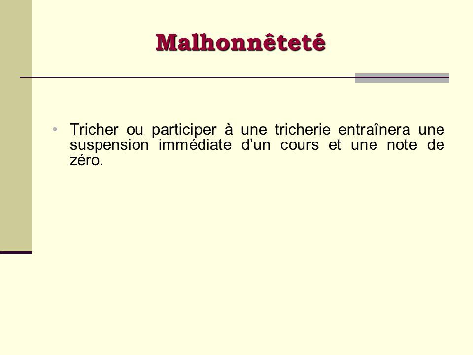 Malhonnêteté Tricher ou participer à une tricherie entraînera une suspension immédiate d'un cours et une note de zéro.