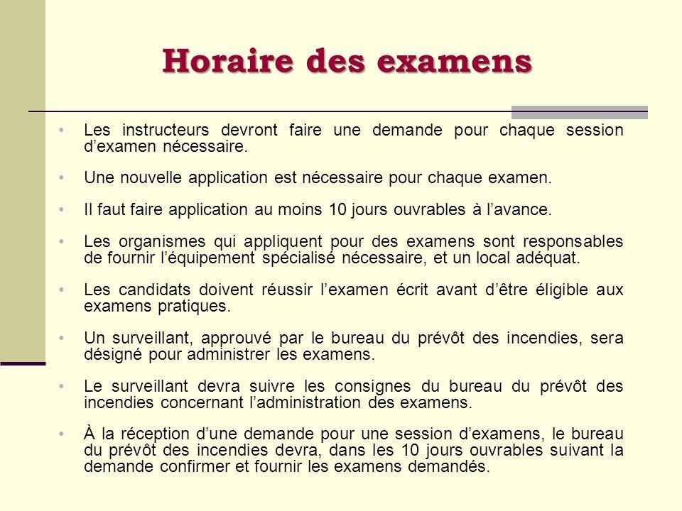 Horaire des examens Les instructeurs devront faire une demande pour chaque session d'examen nécessaire.