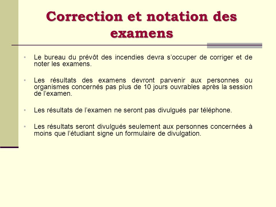 Correction et notation des examens