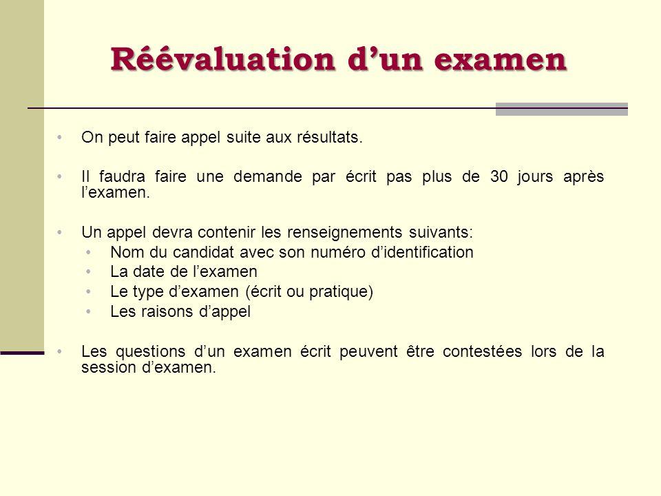 Réévaluation d'un examen