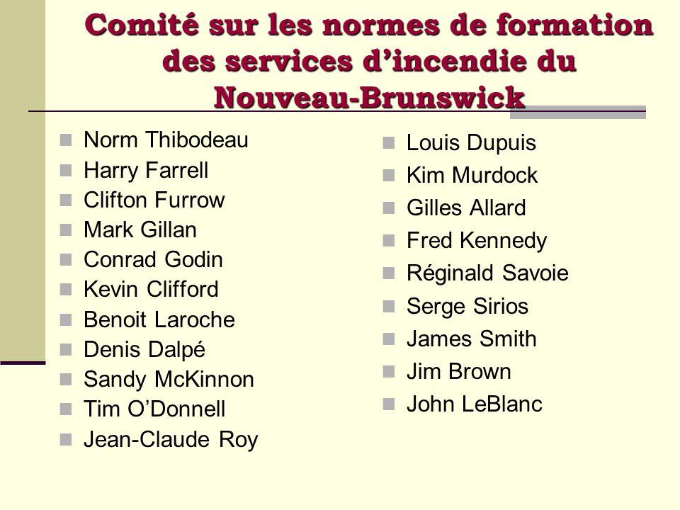 Comité sur les normes de formation des services d'incendie du Nouveau-Brunswick
