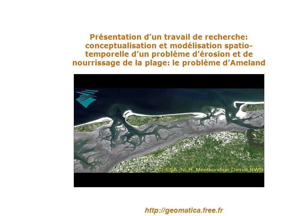 Présentation d'un travail de recherche: conceptualisation et modélisation spatio-temporelle d'un problème d'érosion et de nourrissage de la plage: le problème d'Ameland