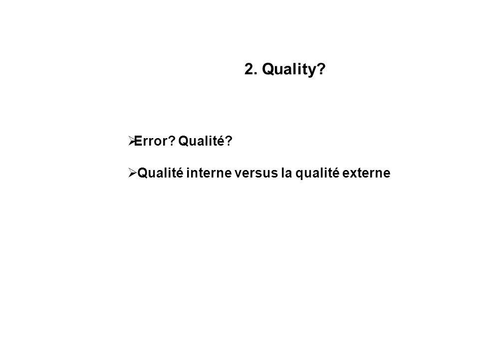 2. Quality Error Qualité Qualité interne versus la qualité externe