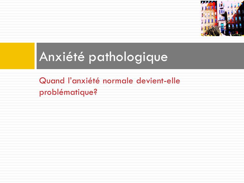 Anxiété pathologique Quand l'anxiété normale devient-elle problématique