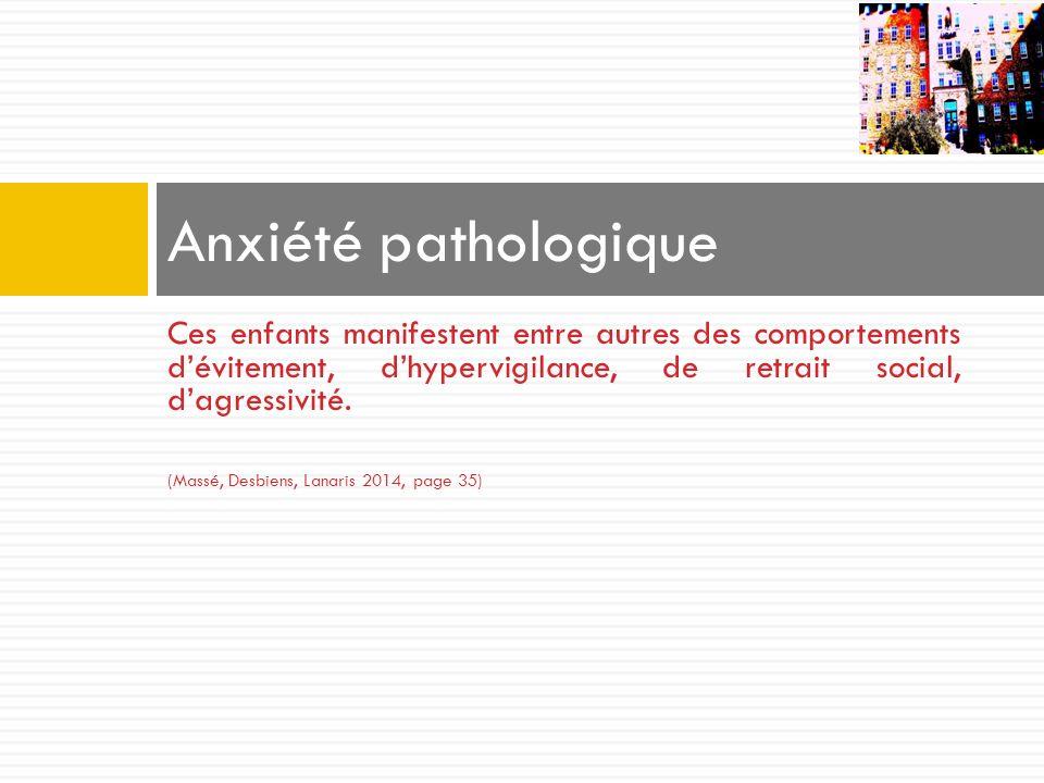 Anxiété pathologique Ces enfants manifestent entre autres des comportements d'évitement, d'hypervigilance, de retrait social, d'agressivité.