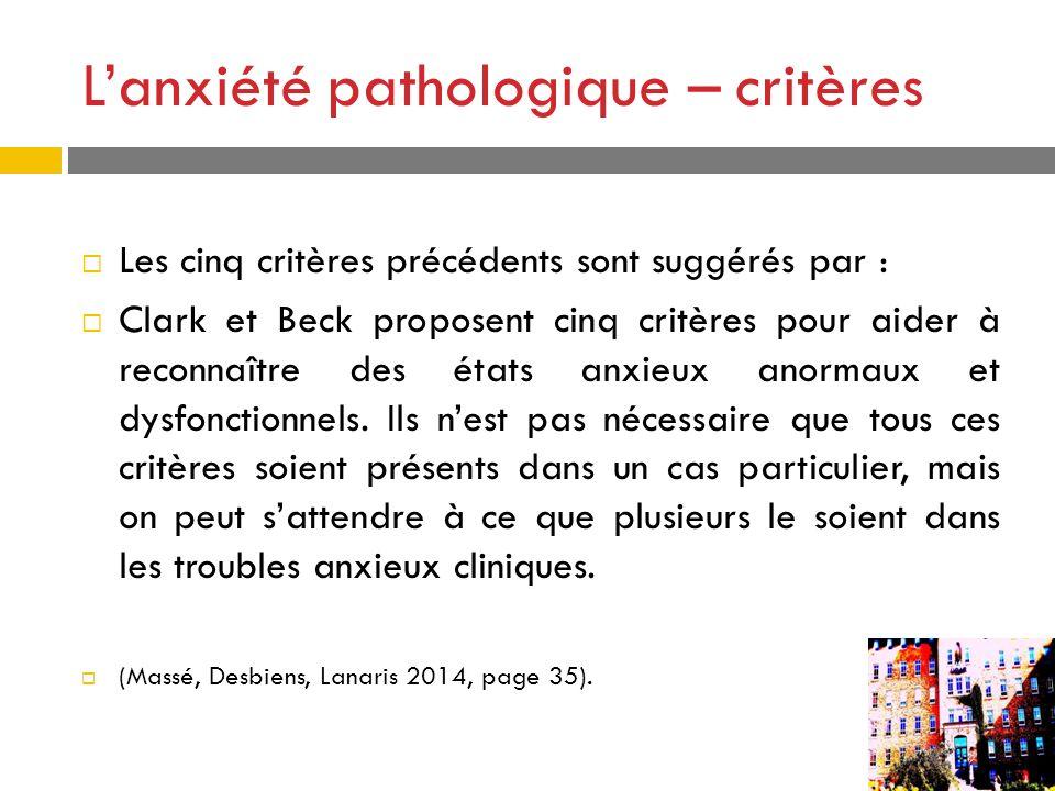 L'anxiété pathologique – critères