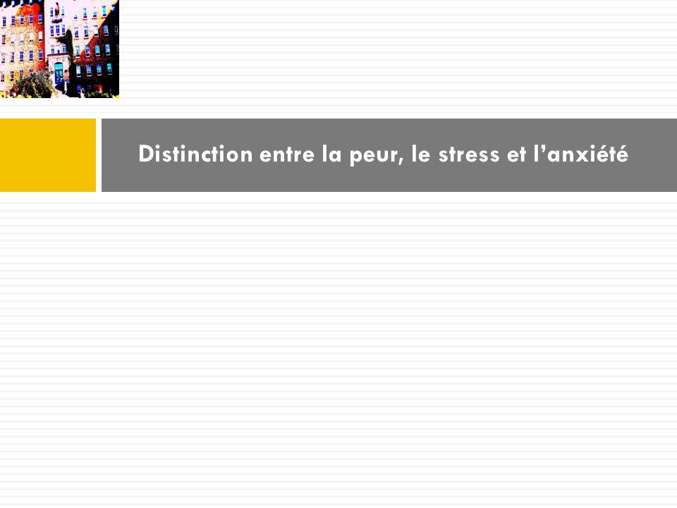 Distinction entre la peur, le stress et l'anxiété