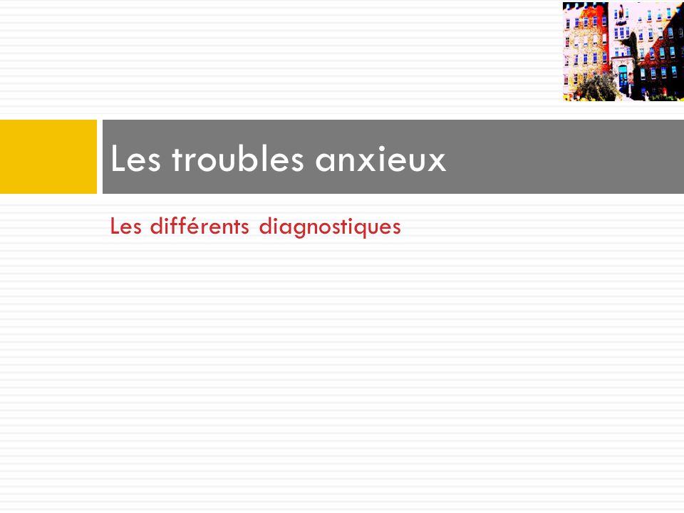 Les troubles anxieux Les différents diagnostiques