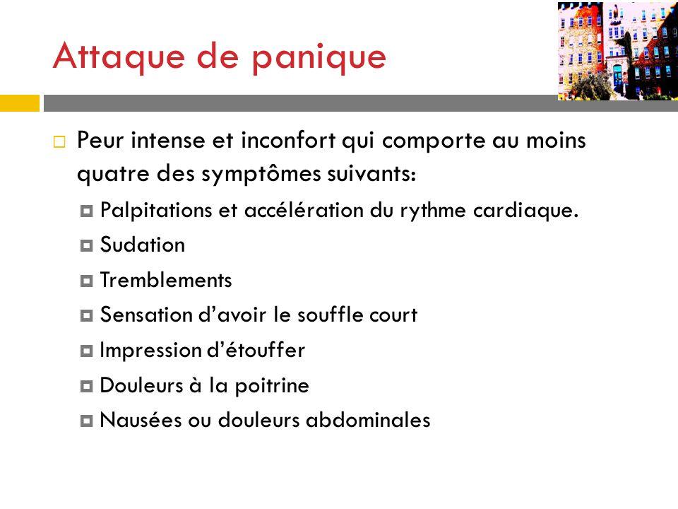 Attaque de panique Peur intense et inconfort qui comporte au moins quatre des symptômes suivants: Palpitations et accélération du rythme cardiaque.